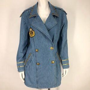 Vintage Cache 8 Denim Jean Jacket Nautical 90's